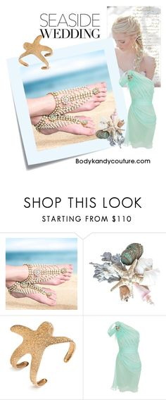 """""""Seaside Wedding Inspo. #barefootsandals Wedding beach #weddinginspiration #footjewelry  #pearls barefoot sandals with Pearls for brides wedding on the beach. Foot Jewelry Featuring Body Kandy Couture #seaside #weddingideas"""" by bodykandycouture ❤ liked on Polyvore featuring Post-It and Matthew Williamson"""