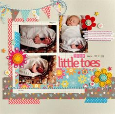 #papercraft #scrapbook #layout    Tiny Little Toes