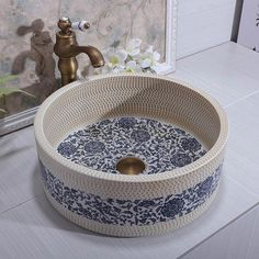 Online Store Handmade Europe Vintage Style Lavobo Ceramic Bathroom Countertop Bathroom wash basin sink for bathroom Bathroom Styling, Bathroom Interior Design, Bathroom Stand, Bathroom Storage, Spanish Style Bathrooms, Craftsman Style House Plans, Bathroom Countertops, Rustic Bathrooms, Bathroom Inspiration