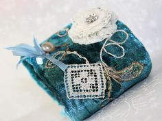 Victorian Velvet Lace Fabric Cuff Bracelet Hand Embroidery Sea Gypsy Cottage Chic