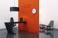 Companies like IdeaPaint and Writeyboards have introduced transparent paints that can convert any surface into a whiteboard. Use it on colored walls to create unique write-on surfaces. Craft ever changing wall art, or turn the entire room for the kids into a big writable area