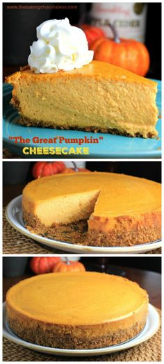 Who doesn't love the arousing combination of pumpkin pie and cheesecake? 'The Great Pumpkin' Cheesecake is filled with lovely aromatic pumpkin pie Pumpkin Dessert, Pumpkin Cheesecake, Cheesecake Recipes, Dessert Recipes, Marshmallow Cheesecake, Cheesecake Calories, Raspberry Cheesecake, Fall Desserts, Just Desserts
