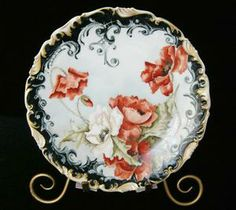 AMAZING 1899 Signed POPPIES & SCROLL T&V Limoges Plate