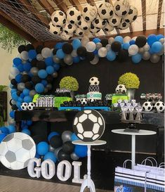 Fiesta infantil con tema de futbol Soccer Birthday Parties, Football Birthday, Soccer Party, Sports Party, Soccer Baby Showers, Baby Boy Shower, Football Themes, Party Decoration, Childrens Party