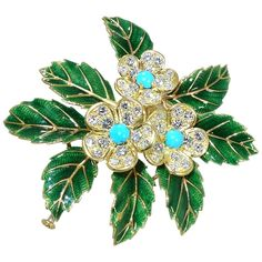 View this item and discover similar for sale at - By the famous French House of Boucheron, this double clip brooch has green enameled leaves with a center of diamond and Persian turquoise flowers. Jewelry Art, Antique Jewelry, Silver Jewelry, Vintage Jewelry, Jewelry Accessories, Fine Jewelry, Jewelry Design, Flower Jewelry, Boucheron Jewelry