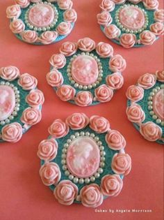 Cameo and roses fondant cupcake toppers by Angela Morrison