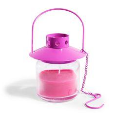 Bougie lanterne en verre rose H 8 cm COLOR