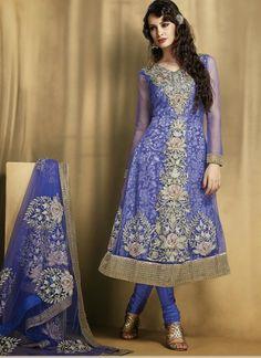 Striking Blue #Net #Anarkali #Suit