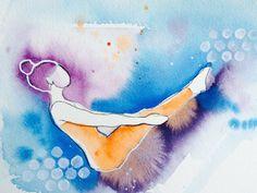 Yoga art, archival print, gift idea.