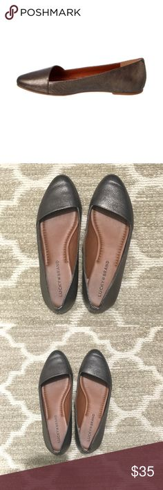 """Lucky Brand Archh Leather Flat Lucky Brand Archh Leather Flat This cute and comfy Archh flat by Lucky Brand is perfect for everyday wear. These are in excellent used condition and have only been worn one time.  Fit is TTS.  * Color/Material: Old Pewter Leather * Almond toe * Lightly padded footbed * 0.25"""" heel * Width: B(M) Lucky Brand Shoes Flats & Loafers"""