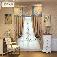 DIHIN HOME Lotus and Butterfly Embroidered Valance,Blackout Curtains Grommet Window Curtain for Living Room Panel Grommet Curtains, Sheer Curtains, Blackout Curtains, Window Curtains, Curtain Length, Room Darkening, Home Textile, Windows
