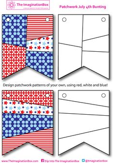 DIY July 4th Patchwork Bunting, have fun designing your own patterns in red, white and blue with this free printable