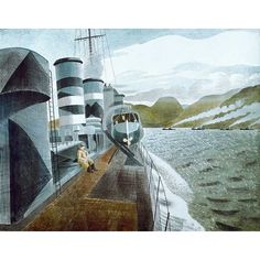 Leaving Scapa Flow by Eric Ravilious. Watercolour painted whilst he was official war artist. David Hockney, Bristol, Dazzle Camouflage, Image Painting, Military Art, Limited Edition Prints, Academia, Illustrators, Art Gallery