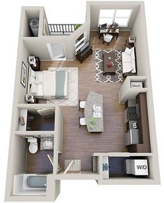 Why is the island not centered with kitchen? if a tiny home there would be no need for balcony. square it out and put BR where LR is. I could live in here. >>>Floor Plans - Solis Sharon Square Apartments
