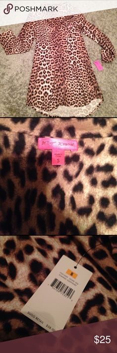 NWT Betsey Johnson Night Shirt 💗 NWT Betsey Johnson Night Shirt. Adorable leopard print. Flannel. Size Small. Super cute pink heart buttons and bow on front! Originally $58.00. Check out my other listings for more Betsey Johnson items and bundle deals!                                         Tags: pajamas night gown Betsey Johnson Intimates & Sleepwear