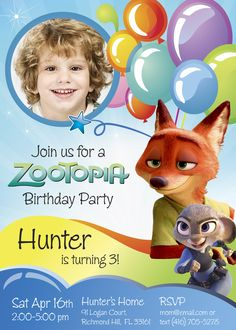 Zootopia Birthday Invitation | Customize it with your boy along the bunny Judy Hopps and the fox Nick Wilde.
