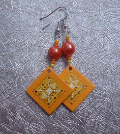 Wooden earrings with hand-painted...Ar-Mari Rubenian