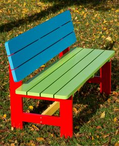Painted Nursery and Pre-School Garden Bench yearsA brightly painted wooden garden bench designed for toddlers aged 2 to Great for home and school use. Diy Furniture Couch, Garden Furniture, Pallet Furniture, Outdoor Furniture, Kids Bench, Wooden Garden Benches, Garden Storage Shed, Outdoor Sheds, Outdoor Benches