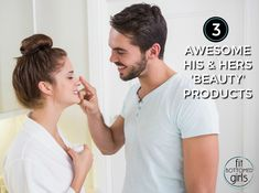 Young man putting cream on girlfriends nose at home in the  bathroom Need more #beauty products in your life? Here are some for gals and guys! #women #fashion #DIY http://fitbottomedgirls.com/2017/03/3-beauty-products-that-are-equally-awesome-for-guys-and-gals/
