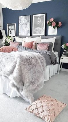 What To Expect From Romantic Master Bedroom Decor On A Budget Diy Headboards 35 – bdarop - Home decor cozy Blush Pink Bedroom, Pink Bedrooms, Blue Bedroom, Modern Bedroom, Bedroom Girls, Pink Bedding, Contemporary Bedroom, Minimalist Bedroom, Bedroom Colors