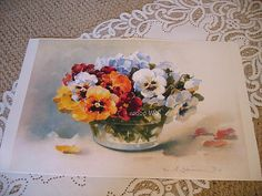 PRINT FREE SHIP Pansies by C Klein by VictorianRosePrints on Etsy, $8.95