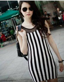 J70935 Fashion Grenadine Splicing Stripes Dress Product Detail: COLOR:  Stripes FABRIC:  Cotton WEIGHT:  0.220kg SIZE: Free LENGTH: 77cm, Bust: 80cm, Waist: 78cm