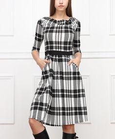 Another great find on #zulily! Black & White Plaid Drape Neck Dress #zulilyfinds