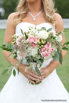 Bridal Bouquet with Pink Spray Roses, Green Seeded Eucalyptus, Green Hypericum Berries, and White Hydrangea - The French Bouquet - Aaron Snow Photography