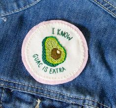 Express your love of guacamole and chipotle with this hand-sewn avocado patch!  Patch is approximately 3 in diameter. It is sewn on muslin with DMC thread, and backed with a piece of light pink felt. This patch is not iron on, but can either be sewn on or bought with an attached pin backing. Because they are hand made, each patch may vary slightly, but that is what makes every one unique and special…