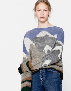 Mountain landscape sweater - Knit - Clothing - Woman - PULL&BEAR United Kingdom