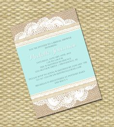 Rustic Country Bridal/Baby Shower, Wedding Invitation - Burlap Lace Kraft Doily. $15.00, via Etsy.