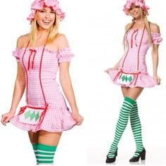 Strawberry Adult Custom Halloween NWOT 3-Piece Strawberry,includes bonnet,polyester off the shoulder halter Solid Pink Dress With apron attached & striped green lime (2-tones) thigh high stockings shown last pict (price reflects the stocking that has some greenish blue color,I believe is from factory.Above 2 first picts are just for styling,2nd pict is a model showing the style of this custom that can be worn with different shoe colors or clear ones.The dress is solid strawberry pink,never…