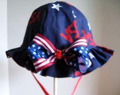 Reversible Girl Patriotic Sun Hat  with Ruffle Brim by krantwist, $16.99