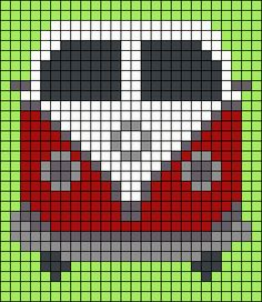 VW Van Perler Bead Pattern. Could use as a starting point for graphghan