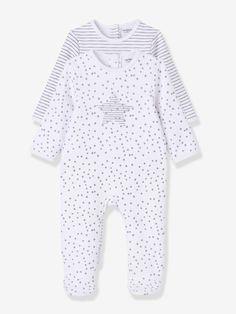 Pack of 2 Baby Printed Fleece Pyjamas, Back Press-Studs - white striped, Baby | Vertbaudet