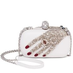 Alexander McQueen Classic Skull Crystal-Embellished Box Clutch (29.505 ARS) ❤ liked on Polyvore featuring bags, handbags, clutches, apparel & accessories, vanilla, leather skull purse, skull handbag, leather clutches, genuine leather handbags and leather handbags