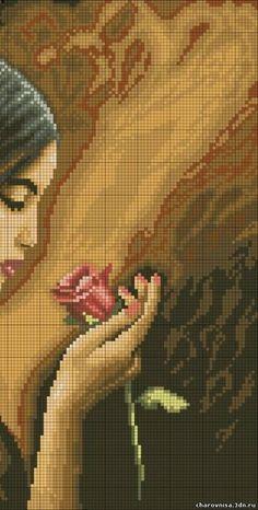 Lady with rose x-stitch 2 Cross Stitch Numbers, Cross Stitch Borders, Cross Stitch Charts, Cross Stitching, Cross Stitch Embroidery, Cross Stitch Patterns, Cross Stitch Geometric, Modern Cross Stitch, Cross Stitch Angels