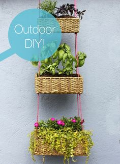 Outdoor DIY Hanging Baskets - I also want to make one for herbs to hang in my kitchen...