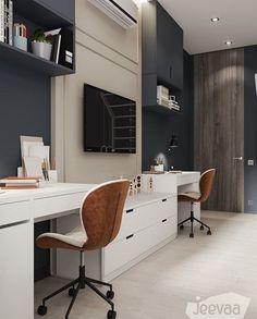Master Bedroom Interior, Tv In Bedroom, Gold Bedroom, Boys Desk, Student Room, Tv Wall Design, Built In Desk, Home Office Decor, Kids Room
