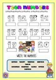 English worksheet: WRITING TEEN NUMBERS 11 TO 20