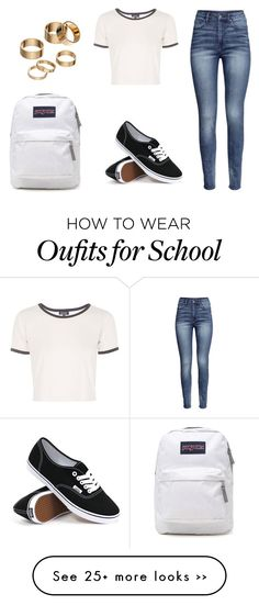 """fourth day of school outfit idea"" by bubblygirl11 on Polyvore featuring H&M, Topshop, Vans, JanSport and Apt. 9"