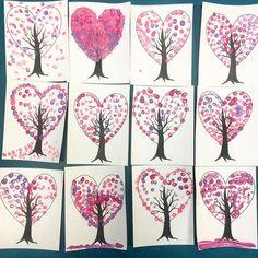 Valentine's Day Spring Trees!!! ❤❤❤ #spring #kindergarten