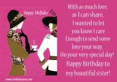 Birthday Cards For Sister On Facebook | Sweet Little Sister Happy Birthday Wishes For Boss Quotes Artistyael ...