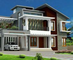 flat roof homes designs | flat roof villa exterior in 2400 sq.feet