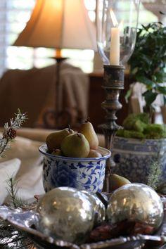 Blue & White Christmas decor for our Master Bedroom