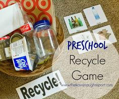 Montessori Inspired Preschool Recycle Game -- perfect way to teach kids about recycling and make it fun! Communicate solutions to reduce the amount of natural resources an individual uses. Earth Day Activities, Kids Learning Activities, Montessori Activities, Kid Activites, Nursery Activities, Montessori Education, Montessori Toddler, Learning Centers, Science Activities