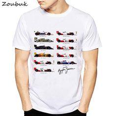 3d62bcb8974ba US $7.4 43% OFF|Wszystkie F1 Ayrton Senna sennacars t shirt mężczyzn  samochody fanów męskie fajne T shirt Slim Fit biały fitness na co dzień  topy tee shirt ...