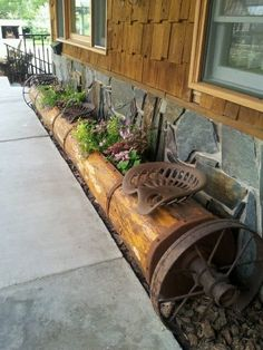 tractor seat, wheel and log planter Outdoor Seating, Outdoor Spaces, Outdoor Decor, Western Decor, Rustic Decor, Log Planter, Planters, Old Farm Equipment, Shed Plans
