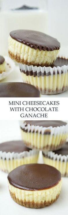 Mini Cheesecakes with Dark Chocolate Ganache. The mini version of a classically rich cheesecake topped with a smooth oh-so-good mixed milk and dark chocolate ganache! Mini Desserts, No Bake Desserts, Just Desserts, Delicious Desserts, Dessert Recipes, Yummy Food, Mini Cakes, Cupcake Cakes, Yummy Treats