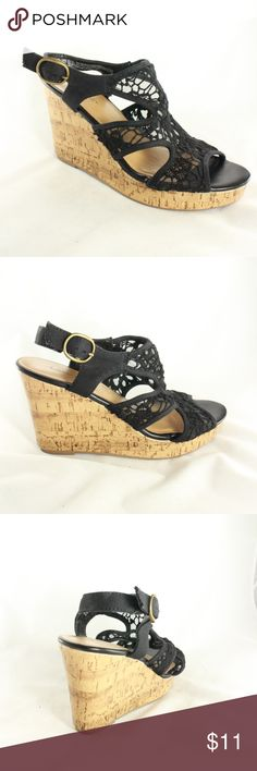 AMERICAN EAGLE Black Lace Strap Wedge Heels Cute simple ankle strap wedge heels with lace pattern fabric upper. Wedge is bout 3.5 inches in height Size 8.5 American Eagle By Payless Shoes Wedges